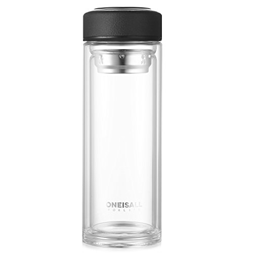 Oneisall 500ml Glass Water Bottle with Tea Infuser,Double Wall Glass Tea Cup,Heat-resistant Bottle BPA and PVC and Lead Free, QGYBL110 (Black) Heat Resistant Glass Cup