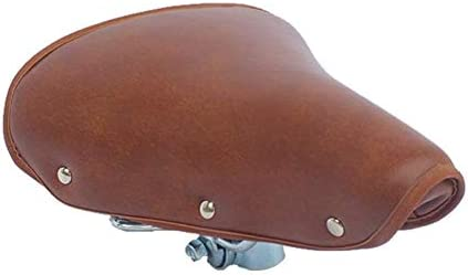自転車用シート、最も快適な自転車用シート低反発防水自転車サドル固定ノンスリップアクセサリー自転車サドルヴィンテージブラウンPuレザー