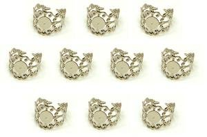 10 Silver Plated Filigree - Find-Its - Findings For Fused 10-Piece Adjustable Filigree Rings, Silver Plated