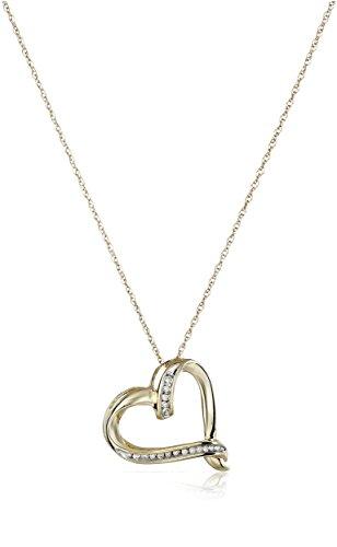 "10K Yellow Gold Diamond Accent Heart Pendant Necklace, 18"""
