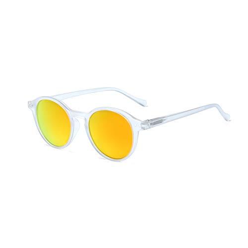 (ZENOTTIC Polarized Vintage Classic Round Sunglasses UV400 For Men Women (MATTE CRYSTAL/RED))