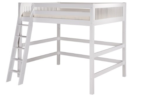 Camaflexi Mission Style Solid Wood High Loft Bed, Full w/ End Angled Ladder, - Wood Style Solid Mission