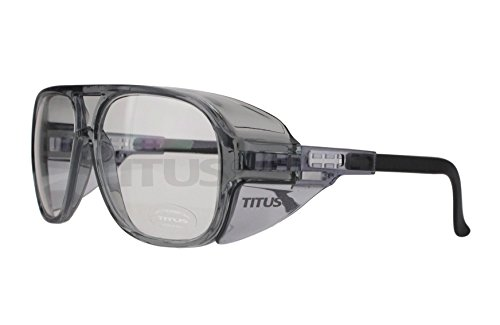 TITUS Large Industrial/Scientific Safety Glasses (Without Pouch, Aviators - Clear)