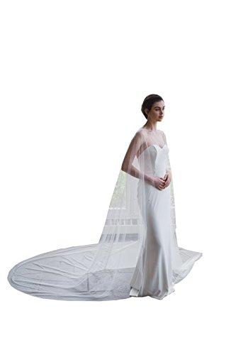 White Witch Narnia Costume (kelaixiang Elegant Tulle Wedding Cape Lace beading 3M Bridal Capes Wedding Jacket (3meters,)