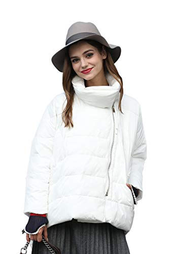 Women Coat Winter Clearance Closure Quilted u with you Zip Asymmetrical White 7UEZK