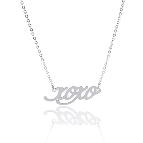 Script Words XOXO Love Kisses Hugs Pendant Necklace Siver Color