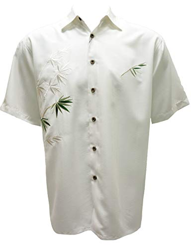 Bamboo Cay Mens Short Sleeve Flying Bamboos Casual Embroidered Woven Shirt (X-Large, Off - Big Shirt Woven