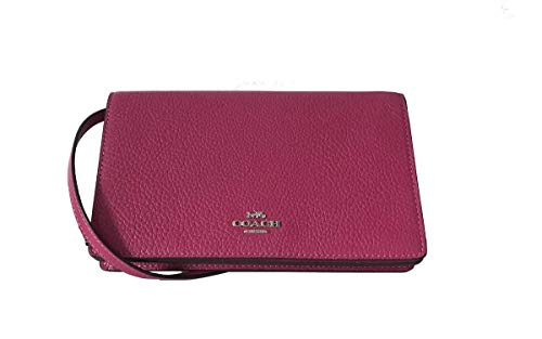 Coach Foldover Clutch Wallet Pebbled Leather Crossbody Bag (Cerise) by Coach (Image #1)