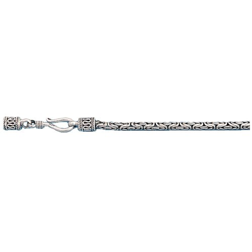 - .925 Sterling Silver Byzantine Bali Chain 2.5MM Wide And 30