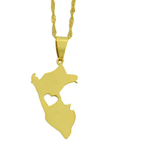 (AccessCube Unisex Country Map Flag Pendant Necklace Gold Silver Color Charm Maps Jewelry (Peru/Gold) )