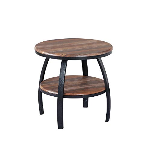 Yohanis Round End Table in Fresh Brew with Round Table Top, Metal Legs, And Open Shelving, by Artum Hill