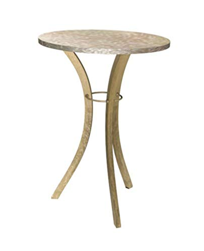 Bombay L3006ST7170 Capiz Collection, Liberty Accent Side Table, 26 Inch High, Ivory, White, Brown