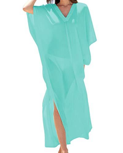 BBYES Women Kaftans Dress Long Swimsuit Cover up Caftan Summer Beach Maxi Dress Green XL