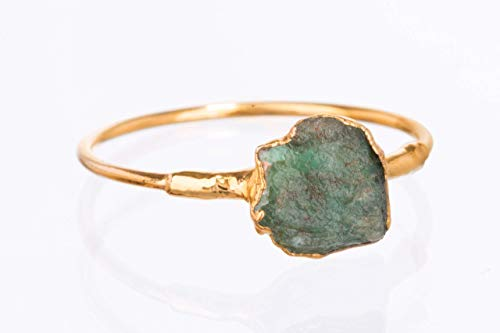 (Size 5 Raw Emerald Ring, Yellow Gold, May Birthstone Jewelry)