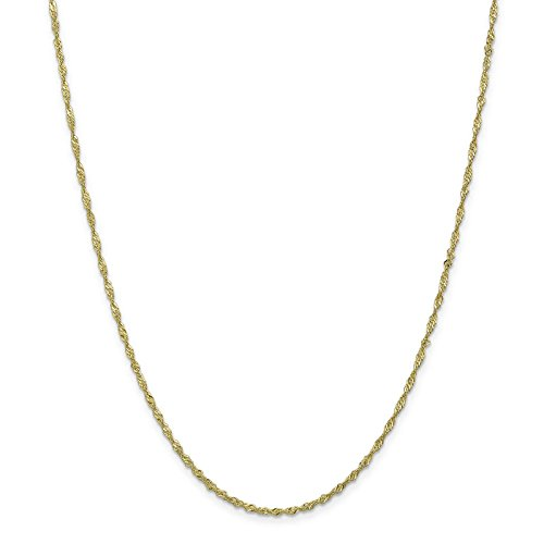 10k Yellow Gold Polished 1.8mm Singapore Link Chain Necklace 16'' by Venture Gold Jewelry Collection