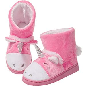 MIXIN Girls Winter Warm Booties Slippers Cute Unicorn Plush Comfy Anti Slip House Shoes Toddler Little Kids (7 M US Toddler, Pink Unicorn) ()