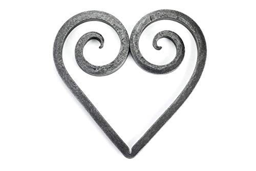 (Trivet - Black Dog Ironworks | Rustic Heart Trivet, Hand Forged Iron Hot Dish Plate | Add country rustic charm to any table setting | Heart Style)