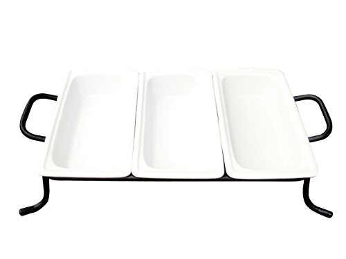- CAC China BF-G313 Food Pans Three Bright White Porcelain 1/3 GN Pans on Rack, 12-3/4 by 6-7/8 by 2-1/2-Inch, 4-Pack