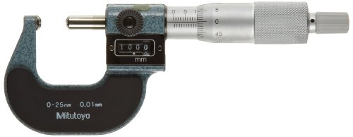 Mitutoyo 295-215 Spherical Face Micrometer, Mechanical Counter Model, Ratchet Stop, 0-25mm Range, 0.01mm Graduation, +/-0.003mm Accuracy, Spherical Spindle