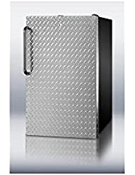 Summit FS408BLBI7DPLADA Refrigerator, Silver With Diamond Plate