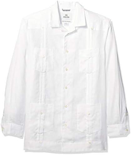 Marca Amazon - 28 Palms - Camisa guayabera plisada de lino 100 % y corte holgado con manga larga y 4 bolsillos para hombre, Blanco, 4XL: Amazon.es: Ropa y accesorios