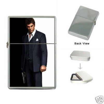 (New Product Scarface Tony Montana Al Pacino Flip Top Cigarette Lighter + free Case Box)