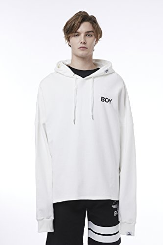 BOY London Unisex (M,L,) 18SS Boy Eagle Over-Sized Hoodie - Black,White New_(BH1HD123) (White, Medium) by BOY London