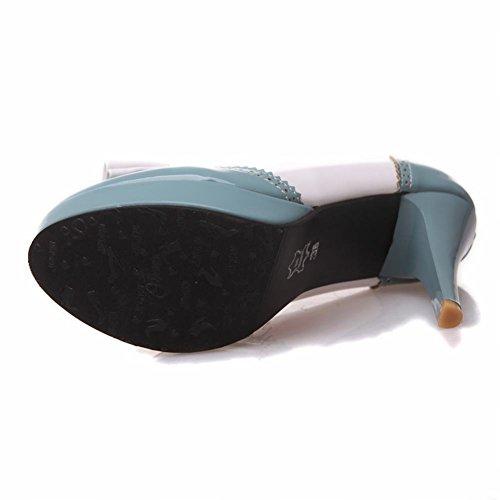 Pumps High Cute Bow Blue Shoes Womens Dress Round toe Platform heel Latasa Hzqpx7wt