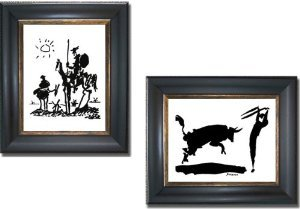 Framed Canvas Iii (Don Quixote & Bullfight III by Picasso 2-pc Premium Black & Gold Framed Canvas Set (Ready-to-Hang))