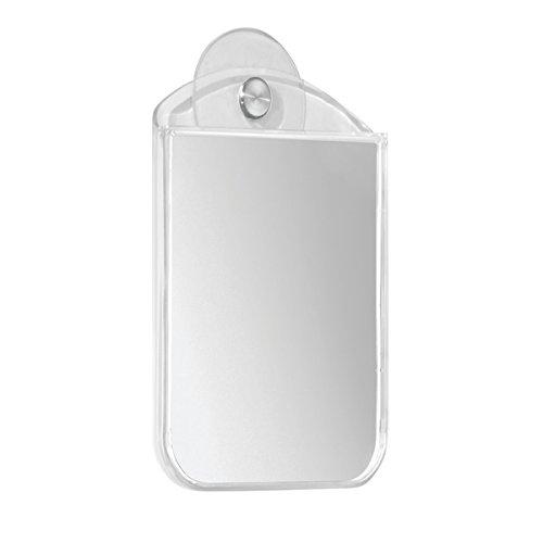 mDesign Bathroom Shower Suction Fog Away Shaving Mirror - Clear