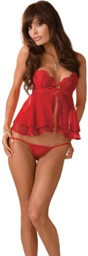 Sexy Red Chiffon Babydoll Lingerie - 2 Piece Set - Medium