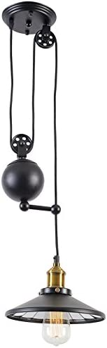 Light Society Rawley Pendant Light, Matte Black, Vintage Modern Industrial Pulley Lighting Fixture LS-C120