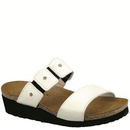 Naot Women's Ashley Wedge Sandal, White Leather, 40 EU/8.5-9 M -