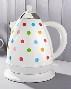 Stainless Steel Polka Dot Spotted Kettle Multi Coloured