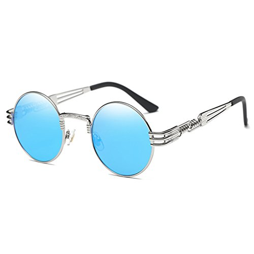 Joopin-Round Retro Polaroid Sunglasses Driving Polarized Glasses Men Steampunk (Blue - Sungalsses Mens