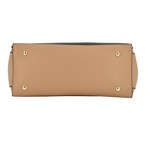 ESA Womens Tote Shoulder Handbags PU Leather Satchel Top handle Purse with Top Zip (Tan mix) by E.S.A. (Image #4)