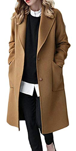 BLTR Women Single Breasted Plus Size Woolen Trench Pea Coat Overcoat Camel US M