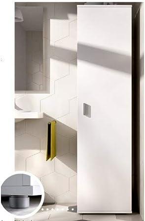 HABITMOBEL Armario estantería Multiusos Acabado Blanco, Alto 190cm Patas Regulables + Ganchos incluidos: Amazon.es: Hogar