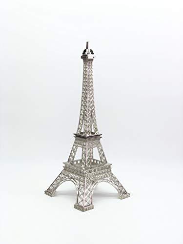 Ethrift Metal Eiffel Tower Statue Figurine Replica Centerpiece (Silver, 12 inches) -