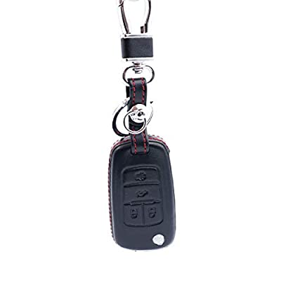 Royalfox(TM Genuine Leather flip Folding Remote Key Fob case Cover for Buick Encore GL8 Regal Excelle,Chevrolet Cruze Equinox Aveo Trax Malibu Camaro,Car Remote Pouch Keychain Holder (4 Buttons): Automotive