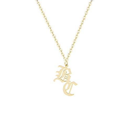 - Elefezar Personalized 925 Sterling Silver 2 Initials Old English Necklace for Women,Men
