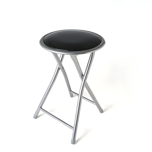 Black Cushioned Silver Folding Stool with Safety Lock on the back of Cushion, height17.71