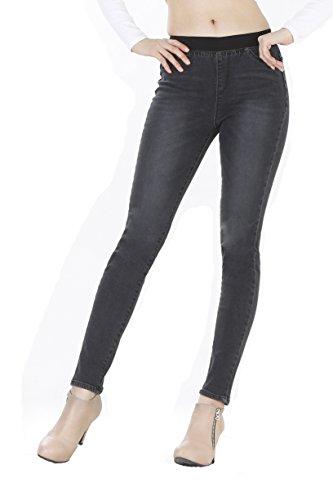 WeHeart Mascara Women Skinny Jeans Jeggings Pants Elastic Waist Black-Jean Medium by WeHeart (Image #1)