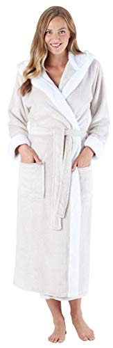 Fall Birthday Ideas (Sleepyheads Women's Fleece Long Sleeve Robe Sherpa-Lined Hooded Bathrobe, Oatmeal)
