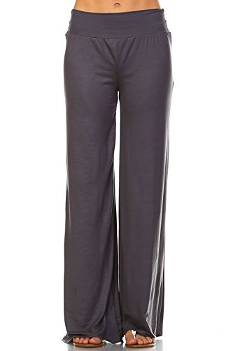 Simplicitie Women's Plus Size Casual Wide Leg High Waist Bohemian Palazzo Pants - Grey, 2X - Made in USA by SimplicitieUSA
