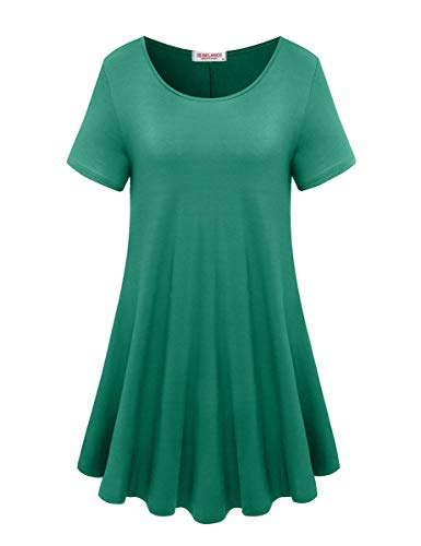 BELAROI Women's Short Sleeve Tunic Tops Plus Size T Shirt Blouses(S,Deep Green)