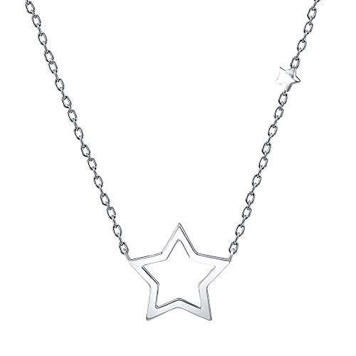 AoedeJ 925 Sterling Silver Dainty Open Star Pendant Necklace Charm Chain Necklace for Women