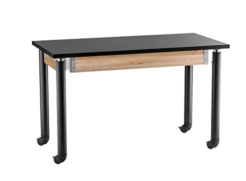 Adjustable Height Science Lab Table with Casters Size: 29'' H x 48'' W x 24'' D, Leg Color: Black by National Public Seating