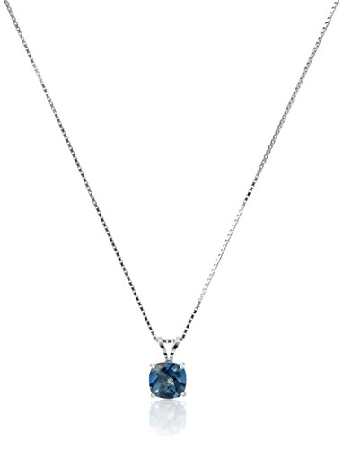 Blue Topaz Solitaire Pendant - Sterling Silver Cushion-Cut Checkerboard London Blue Topaz Pendant Necklace (6mm)