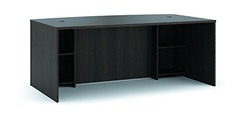HON BL Laminate Series Office Desk Shell - Breakfront Bow Front Top Desk Shell, 72w x 42d x 29h, Espresso - Bow Series Laminate Basyx Bl